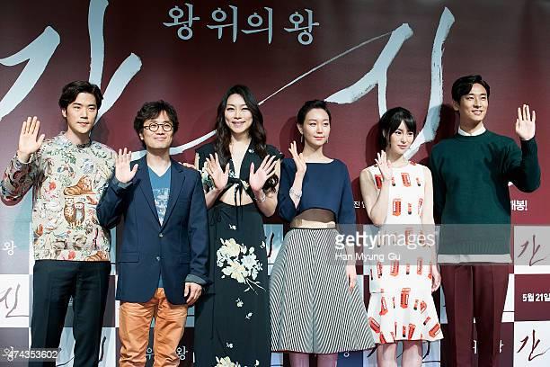 South Korean actors Kim KangWoo director Min KyuDong Cha JiYeon Lee YouYoung Lim JiYeon and Ju JiHoon attend 'The Treacherous' VIP screening at Lotte...