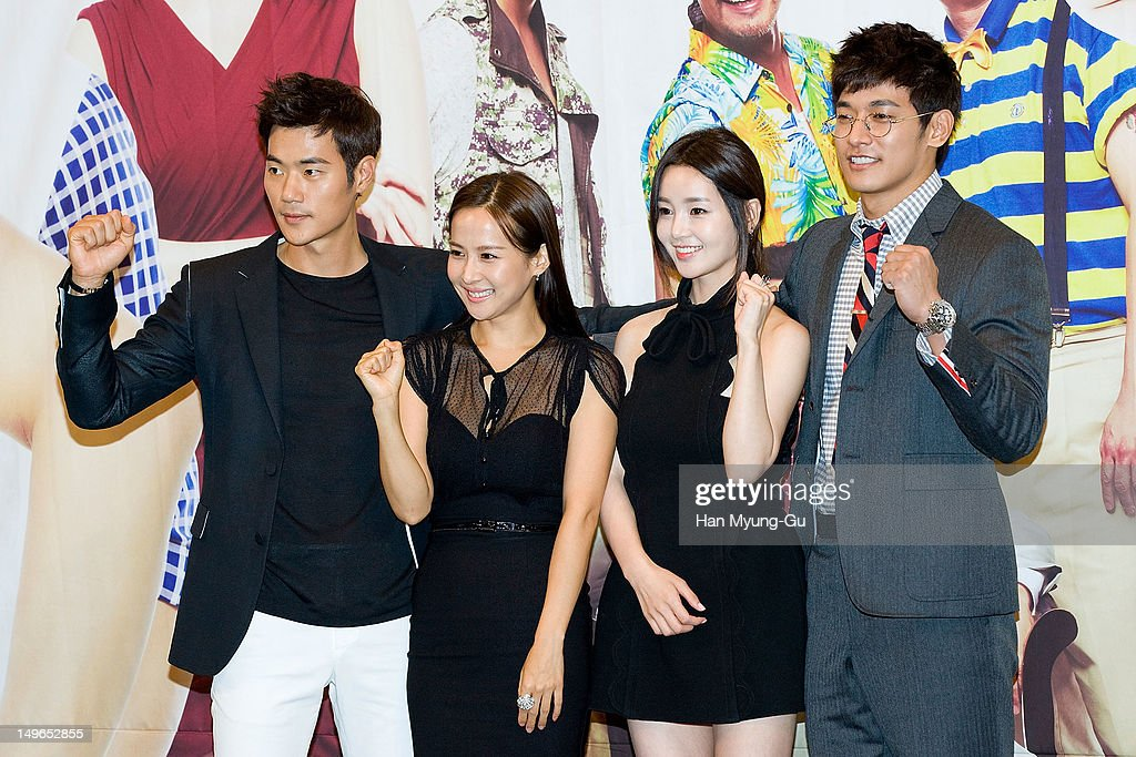 South Korean actors Kim Kang-Woo, <a gi-track='captionPersonalityLinkClicked' href=/galleries/search?phrase=Jo+Yeo-Jeong&family=editorial&specificpeople=7240534 ng-click='$event.stopPropagation()'>Jo Yeo-Jeong</a>, Nam Gyu-Ri and Jung Suk-Won attend during a press conference to promote the KBS drama 'Haeundae Lovers' at Imperial Palace Hotel on August 01, 2012 in Seoul, South Korea. The drama will open on August 06 in South Korea.