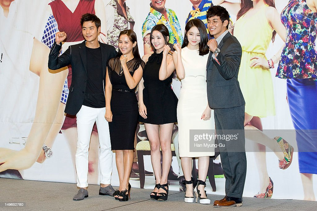 South Korean actors Kim Kang-Woo, <a gi-track='captionPersonalityLinkClicked' href=/galleries/search?phrase=Jo+Yeo-Jeong&family=editorial&specificpeople=7240534 ng-click='$event.stopPropagation()'>Jo Yeo-Jeong</a>, Nam Gyu-Ri, <a gi-track='captionPersonalityLinkClicked' href=/galleries/search?phrase=Kang+Min-Kyung&family=editorial&specificpeople=7496713 ng-click='$event.stopPropagation()'>Kang Min-Kyung</a> and Jung Suk-Won attend during a press conference to promote the KBS drama 'Haeundae Lovers' at Imperial Palace Hotel on August 01, 2012 in Seoul, South Korea. The drama will open on August 06 in South Korea.