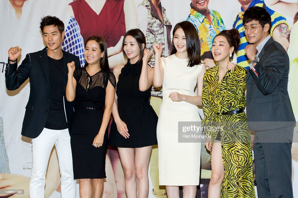 South Korean actors Kim Kang-Woo, <a gi-track='captionPersonalityLinkClicked' href=/galleries/search?phrase=Jo+Yeo-Jeong&family=editorial&specificpeople=7240534 ng-click='$event.stopPropagation()'>Jo Yeo-Jeong</a>, Nam Gyu-Ri, <a gi-track='captionPersonalityLinkClicked' href=/galleries/search?phrase=Kang+Min-Kyung&family=editorial&specificpeople=7496713 ng-click='$event.stopPropagation()'>Kang Min-Kyung</a> of Davichi, Kim Hae-Eun and Jung Suk-Won attend during a press conference to promote the KBS drama 'Haeundae Lovers' at Imperial Palace Hotel on August 01, 2012 in Seoul, South Korea. The drama will open on August 06 in South Korea.