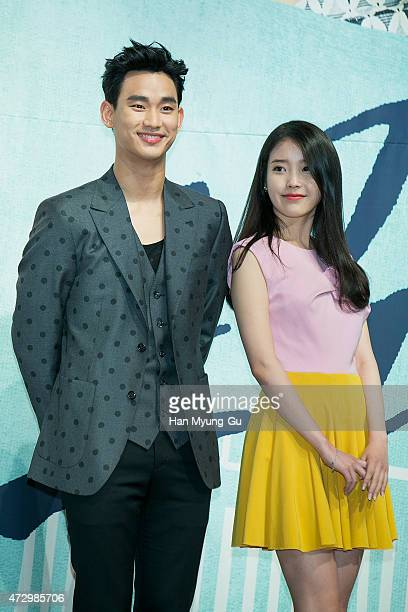 South Korean actors Kim SooHyun and IU attend the press conference for KBS drama 'Produca' at The RAUM on May 11 2015 in Seoul South Korea The drama...