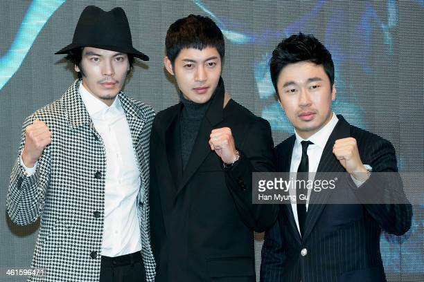 South Korean actors Kim SungOh Kim HyunJoong and Cho DalHwan attend the KBS Drama 'Inspiring Generation' press conference on January 9 2014 in Seoul...