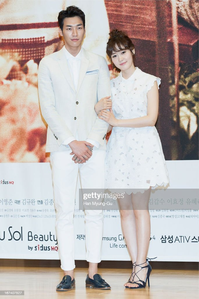 South Korean actors Kim YoungKwang and Sung YouRi attend the SBS Drama 'Secrets Of Birth' Press Conference at SBS Building on April 24 2013 in Seoul...