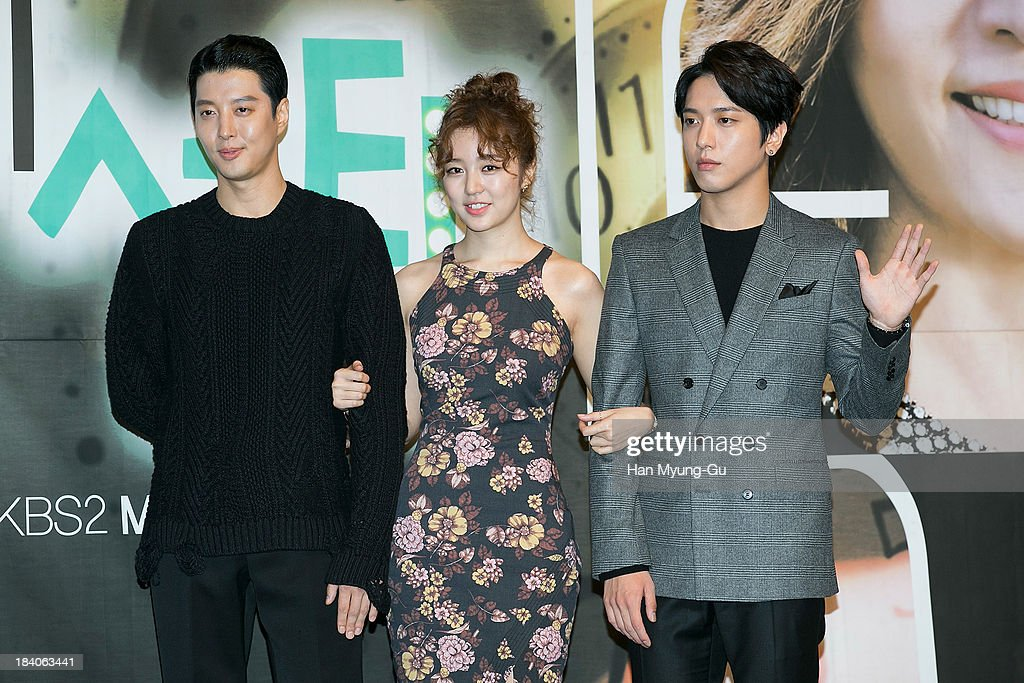 South Korean actors Lee Dong-Gun, <a gi-track='captionPersonalityLinkClicked' href=/galleries/search?phrase=Yoon+Eun-Hye&family=editorial&specificpeople=4342448 ng-click='$event.stopPropagation()'>Yoon Eun-Hye</a> and Jung Yong-Hwa of South Korean boy band CNBLUE attend KBS Drama 'The Choice Of The Future' Press Conference on October 10, 2013 in Seoul, South Korea. The drama will open on October 14, in South Korea.