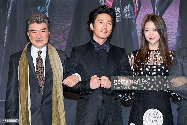 South Korean actors Lee DukHwa Jang Hyuk and Oh YeonSeo attend MBC Drama 'Shine Or Crazy' at MBC on January 15 2015 in Seoul South Korea The drama...