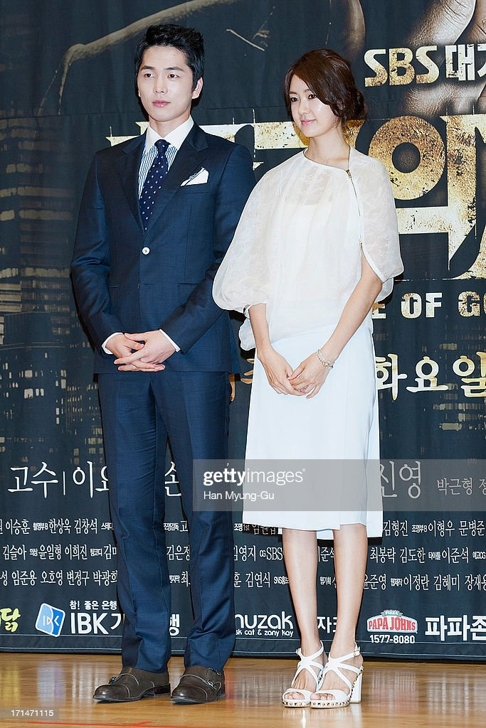 South Korean actors Lee Hyun-Jin and Lee Yo-Won attend during the SBS Drama 'Empire of Gold' press conference on June 25, 2013 in Seoul, South Korea. The drama will open on July 01 in South Korea.