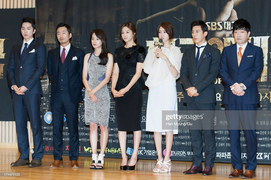 South Korean actors Lee Hyun-Jin, Ryu Seung-Soo, Yoon Seung-A, Jang Shin-Young, Lee Yo-Won, Ko Soo and Son Hyun-Joo (Son Hyun-Ju) attend during the SBS Drama 'Empire of Gold' press conference on June 25, 2013 in Seoul, South Korea. The drama will open on July 01 in South Korea.