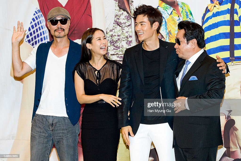 South Korean actors Lee JaeYong Jo YeoJeong Kim KangWoo and Lim HaRyong attend during a press conference to promote the KBS drama 'Haeundae Lovers'...