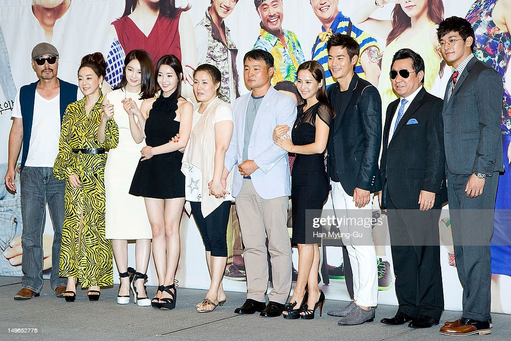 South Korean actors Lee Jae-Yong, Kim Hae-Eun, <a gi-track='captionPersonalityLinkClicked' href=/galleries/search?phrase=Kang+Min-Kyung&family=editorial&specificpeople=7496713 ng-click='$event.stopPropagation()'>Kang Min-Kyung</a> of Davichi, Nam Gyu-Ri, <a gi-track='captionPersonalityLinkClicked' href=/galleries/search?phrase=Jo+Yeo-Jeong&family=editorial&specificpeople=7240534 ng-click='$event.stopPropagation()'>Jo Yeo-Jeong</a>, Kim Kang-Woo, Lim Ha-Ryong, Jung Suk-Won, TV Writers, Hwang Eun-Kyung (5nd L) and producer, Song Hyun-Wook (5nd R) attend during a press conference to promote the KBS drama 'Haeundae Lovers' at Imperial Palace Hotel on August 01, 2012 in Seoul, South Korea. The drama will open on August 06 in South Korea.