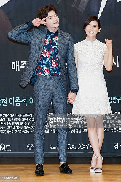 South Korean actors Lee JongSuk and Lee BoYoung attend the SBS Drama 'I Hear Your Voice' Press Conferencce at SBS building on May 29 2013 in Seoul...