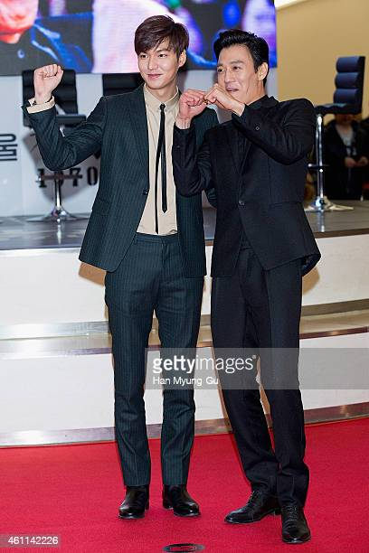 South Korean actors Lee MinHo and Kim RaeWon arrive the showcase for 'Gangnam Blues' at Times Square on January 6 2015 in Seoul South Korea The film...