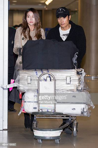 South Korean actors Lee MinJung and Lee ByungHun are seen upon arrival at Incheon International Airport on February 26 2015 in Incheon South Korea