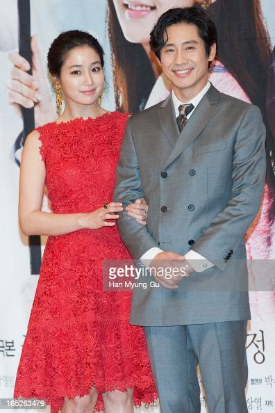 South Korean actors Lee MinJung and Shin HaKyun attend the SBS Drama 'All About My Love' Press Conference at SBS Building on April 2 2013 in Seoul...