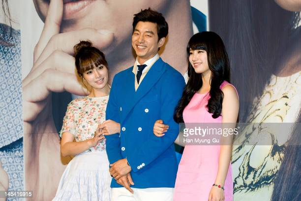 South Korean actors Lee MinJungGong Yoo and Suzy of Miss A attend a press conference to promote KBS drama 'Big' at Lotte Hotel on May 29 2012 in...