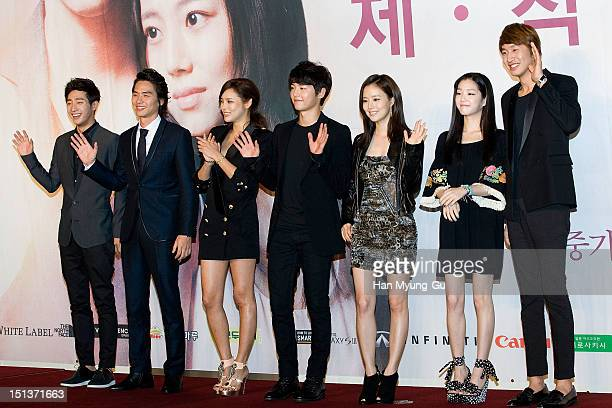 South Korean actors Lee SangYeob Kim TaeHoon Park SiYeon Song JoongKi Moon ChaeWon Lee YuBi and Lee KwangSoo attend during a press conference to...