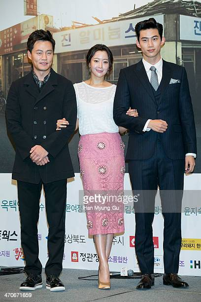 South Korean actors Lee SeoJin Kim HeeSun and Taecyeon of South Korean boy band 2PM attend the press conference for the KBS drama 'Wonderful Days' at...