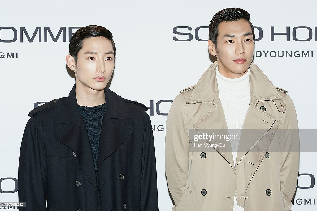 South Korean actors Lee Soo-Hyuk and Kim Young-Kwang attend during the 'Solid Homme' Autumn/Winter 2013 Collection 25th Anniversary Fashion Show a design by Woo Young-Mi at COEX on April 19, 2013 in Seoul, South Korea.