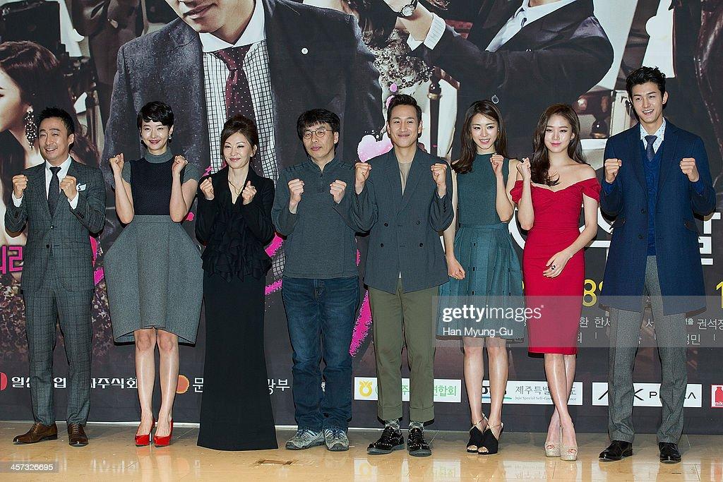 South Korean actors Lee Sung-Min, Song Sun-Mi, Lee Mi-Sook, Lee Sun-Kyun, Lee Yeon-Hee, Ko Sung-Hee and Lee Ki-Woo attend the MBC Drama 'Miss Korea' press conference at Patio 9 on December 16, 2013 in Seoul, South Korea. The drama will open on December 18, in South Korea.