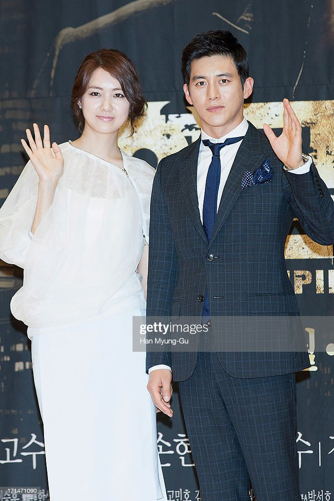 South Korean actors Lee Yo-Won and Ko Soo attend during the SBS Drama 'Empire of Gold' press conference on June 25, 2013 in Seoul, South Korea. The drama will open on July 01 in South Korea.