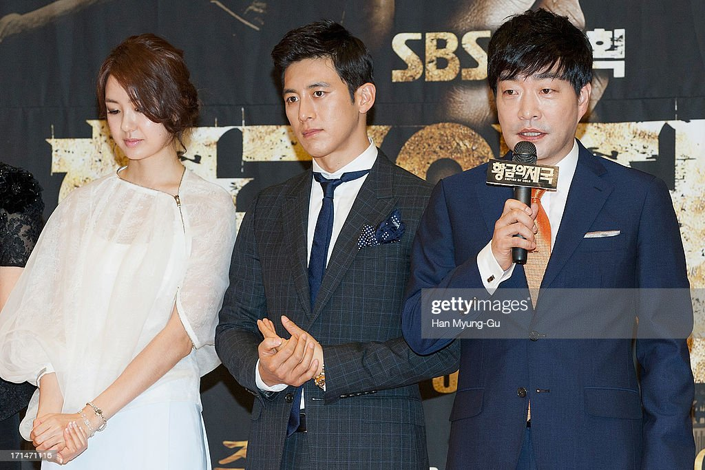 South Korean actors Lee Yo-Won, Ko Soo and Son Hyun-Joo (Son Hyun-Ju) attend during the SBS Drama 'Empire of Gold' press conference on June 25, 2013 in Seoul, South Korea. The drama will open on July 01 in South Korea.