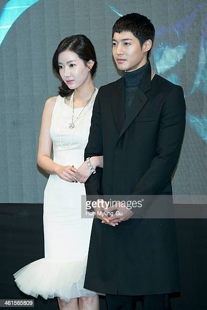 South Korean actors Lim SooHyang and Kim HyunJoong attend the KBS Drama 'Inspiring Generation' press conference on January 9 2014 in Seoul South...