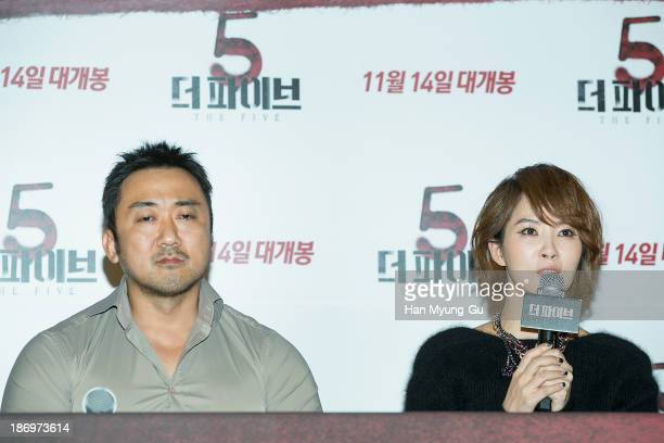 South Korean actors Ma DongSuk Kim SunA attend 'The Five' press screening at CGV on November 5 2013 in Seoul South Korea The film will open on...