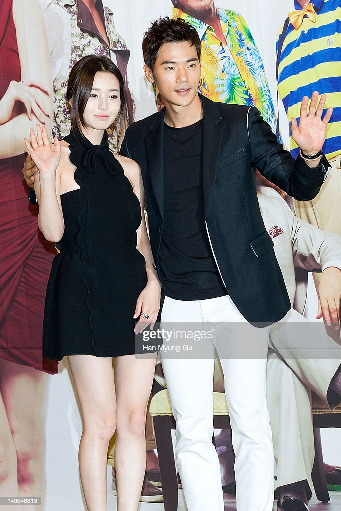 South Korean actors Nam Gyu-Ri and Kim Kang-Woo attend during a press conference to promote the KBS drama 'Haeundae Lovers' at Imperial Palace Hotel on August 01, 2012 in Seoul, South Korea. The drama will open on August 06 in South Korea.