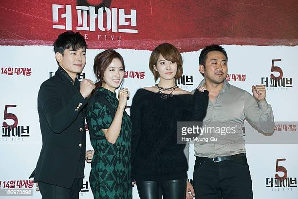 South Korean actors On JooWan Lee ChungAh Kim SunA and Ma DongSuk attend 'The Five' press screening at CGV on November 5 2013 in Seoul South Korea...