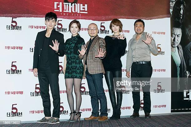 South Korean actors On JooWan Lee ChungAh Kim SunA Ma DongSuk and director Jung YeonSik attend 'The Five' press screening at CGV on November 5 2013...
