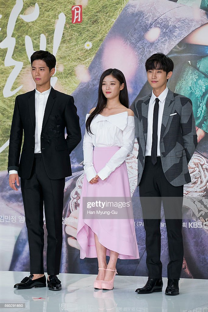 South Korean actors Park Bo-Gum, Kim Yoo-Jung (Kim You-Jung) and Jinyoung of South Korean boy band B1A4 attend the press conference for KBS Drama 'Moonlight Drawn By Clouds' on August 18, 2016 in Seoul, South Korea. The drama will open on August 22, in South Korea.