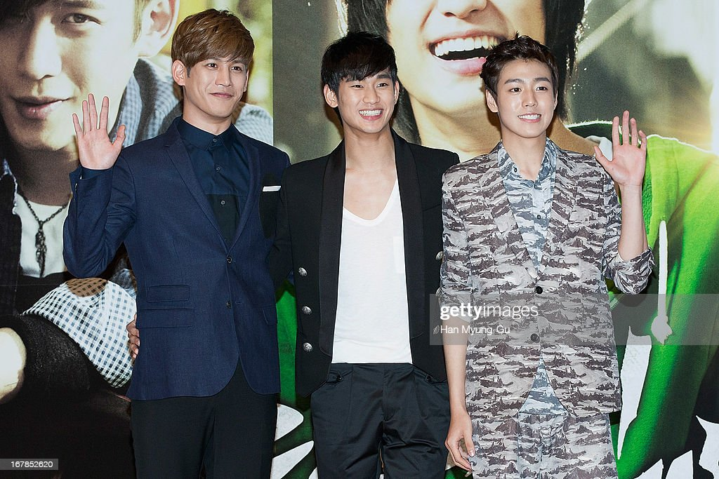 South Korean actors Park Ki-Woong, Kim Soo-Hyun and Lee Hyun-Woo attend during the 'Secretly Greatly' Showcase at Konkuk University on April 30, 2013 in Seoul, South Korea. The film will open on June 05 in South Korea.