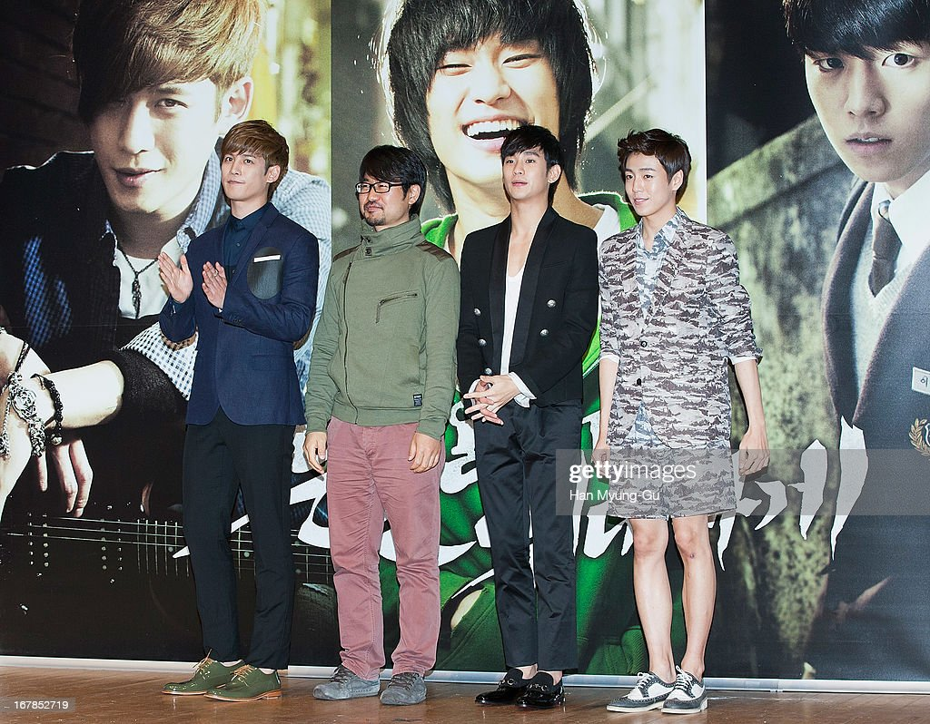 South Korean actors Park Ki-Woong, Kim Soo-Hyun, Lee Hyun-Woo and director Jang Cheol-Soo (2nd L) attend during the 'Secretly Greatly' Showcase at Konkuk University on April 30, 2013 in Seoul, South Korea. The film will open on June 05 in South Korea.