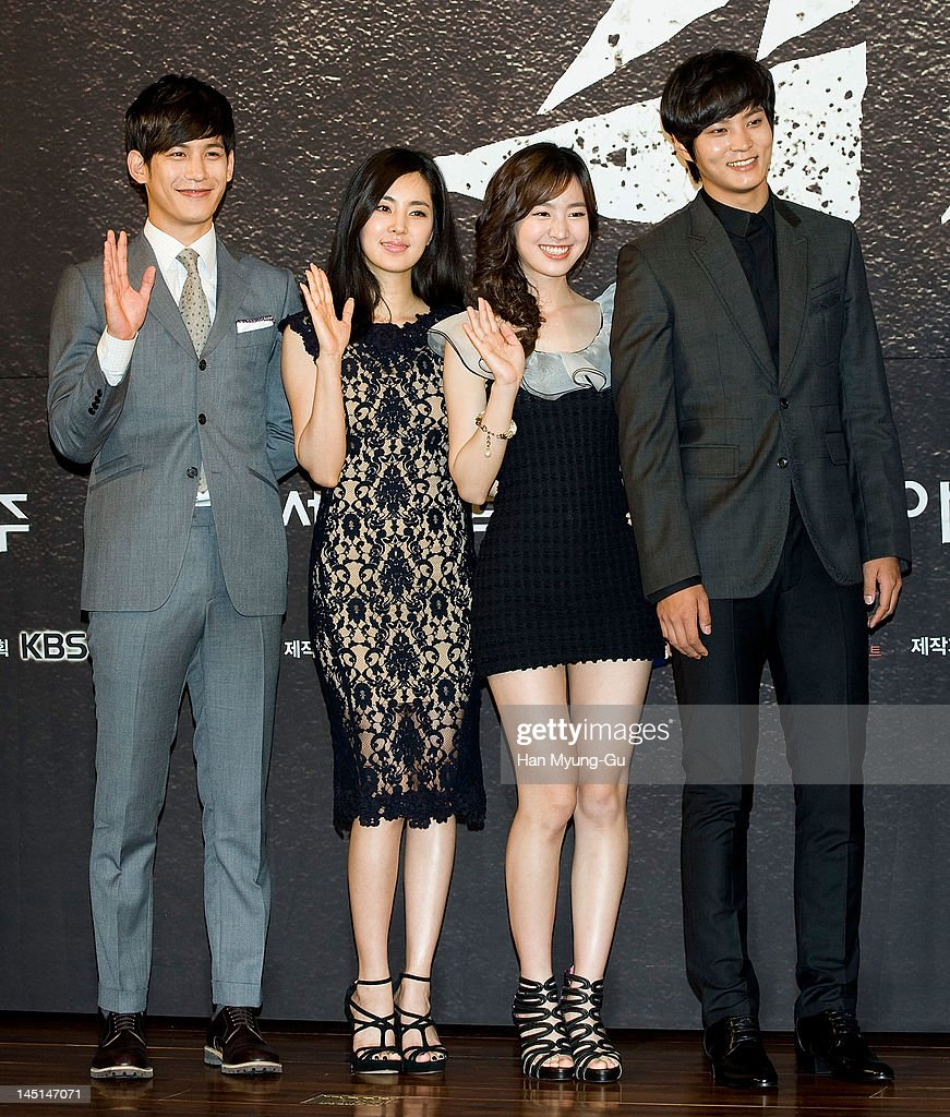 South Korean actors Park KiWoongHan ChaeAJin SeYeon and Joo Won attend the KBS Drama 'GaksiTal' Press Conference at 63 building on May 23 2012 in...