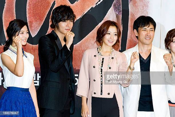 South Korean actors Park SeYeong Lee MinHo Kim HeeSun and Yu OhSeong attend during a press conference to promote the SBS drama 'The Great Doctor' on...