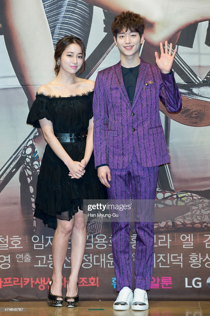 South Korean actors Rhee MinJung and Seo KangJun attend the press conference for MBC Drama 'Cunning Single Lady' at RAUM on February 24 2014 in Seoul...