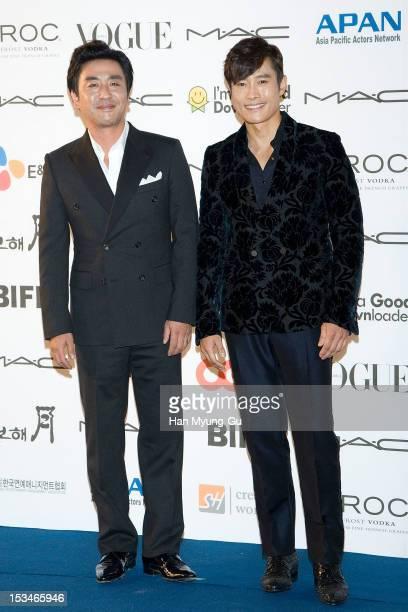 South Korean actors Ryu SeungRyong and Lee ByungHun arrive for APAN Star Road during the 17th Busan International Film Festival at the Haeundae beach...
