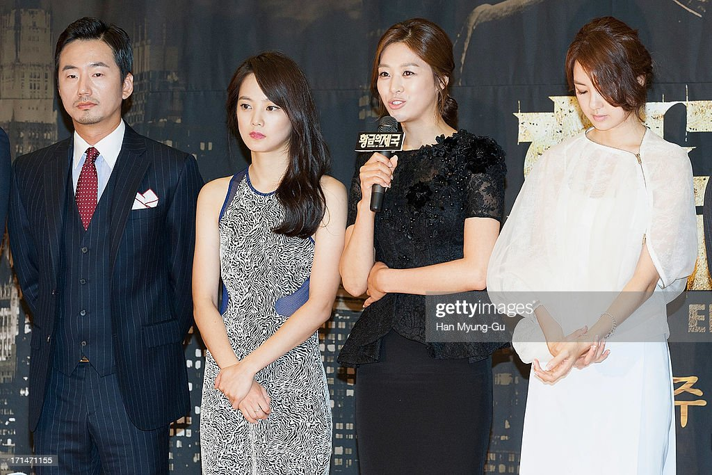 South Korean actors Ryu Seung-Soo, Yoon Seung-A, Jang Shin-Young and Lee Yo-Won attend during the SBS Drama 'Empire of Gold' press conference on June 25, 2013 in Seoul, South Korea. The drama will open on July 01 in South Korea.