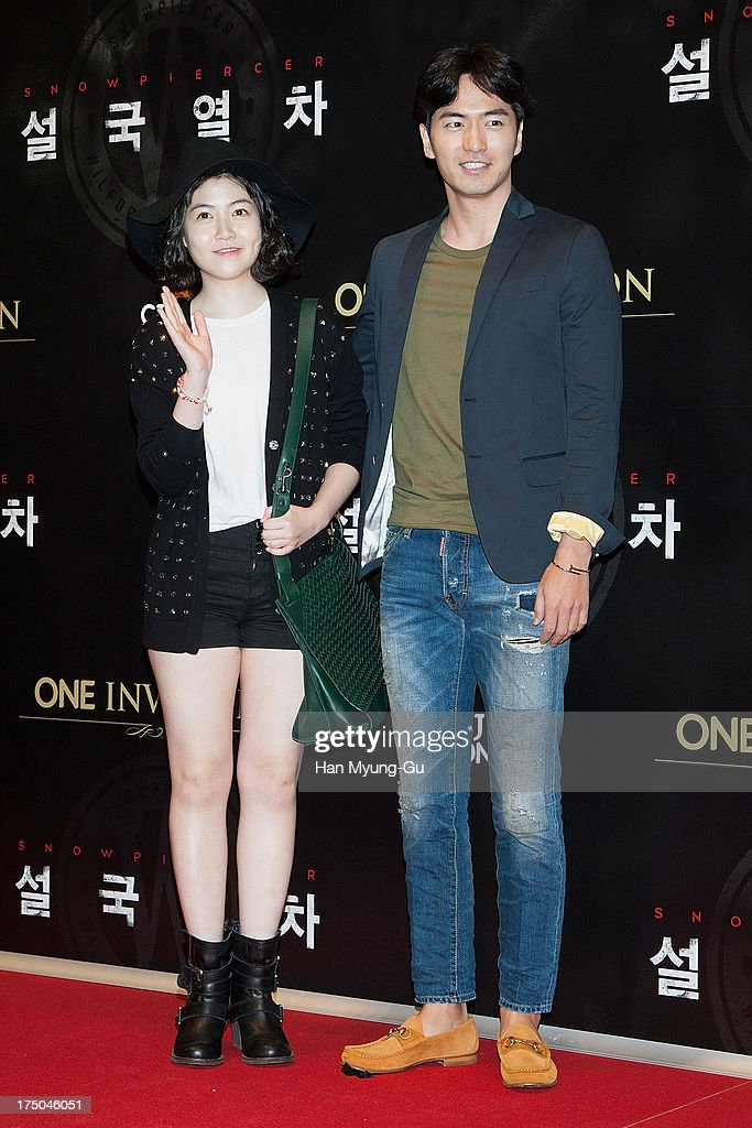 South Korean actors Sim Eun-Kyung and Kim Si-Hoo attend the 'Snowpiercer' South Korea premiere at Times Square on July 29, 2013 in Seoul, South Korea. The film will open on August 1, in South Korea.