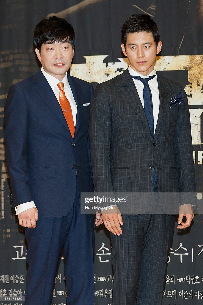 South Korean actors Son Hyun-Joo (Son Hyun-Ju) and Ko Soo attend during the SBS Drama 'Empire of Gold' press conference on June 25, 2013 in Seoul, South Korea. The drama will open on July 01 in South Korea.