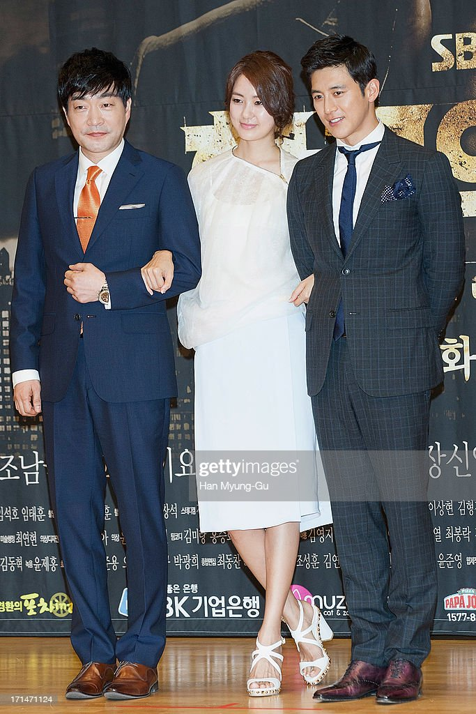 South Korean actors Son Hyun-Joo (Son Hyun-Ju), <a gi-track='captionPersonalityLinkClicked' href=/galleries/search?phrase=Lee+Yo-Won&family=editorial&specificpeople=4376729 ng-click='$event.stopPropagation()'>Lee Yo-Won</a> and Ko Soo attend during the SBS Drama 'Empire of Gold' press conference on June 25, 2013 in Seoul, South Korea. The drama will open on July 01 in South Korea.
