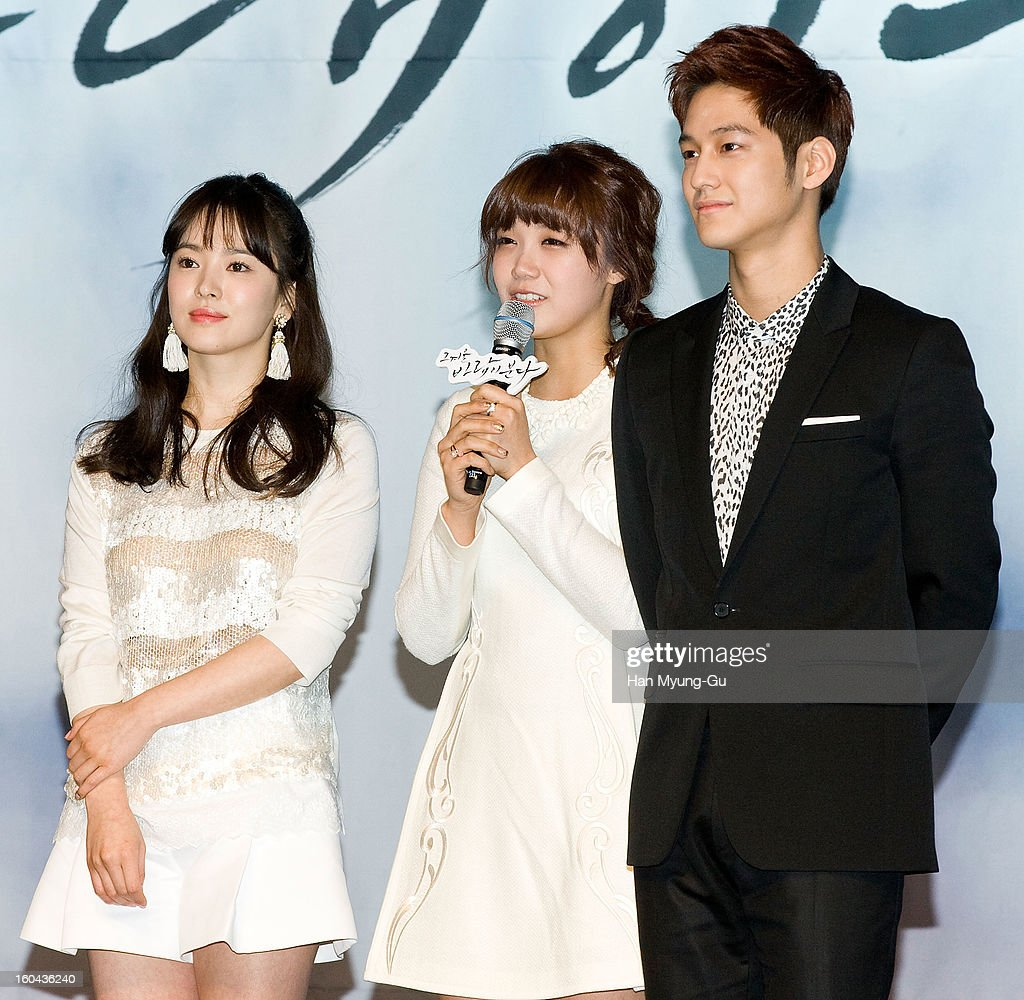 South Korean actors Song Hye-Kyo, Jeong Eun-Ji (Jung Eun-Ji) and Kim Beom attend the SBS Drama 'Baramibunda' press conference at Blue Square Samsung Card Hall on January 31, 2013 in Seoul, South Korea. The drama will open on February 13 in South Korea.