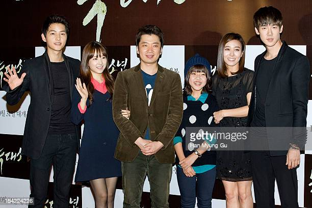South Korean actors Song JoongKi Park BoYoung Kim HyangGi Jang YoungNam Yoo YeonSeok and director Jo SungHee attend a VIP screening of 'A Werewolf...