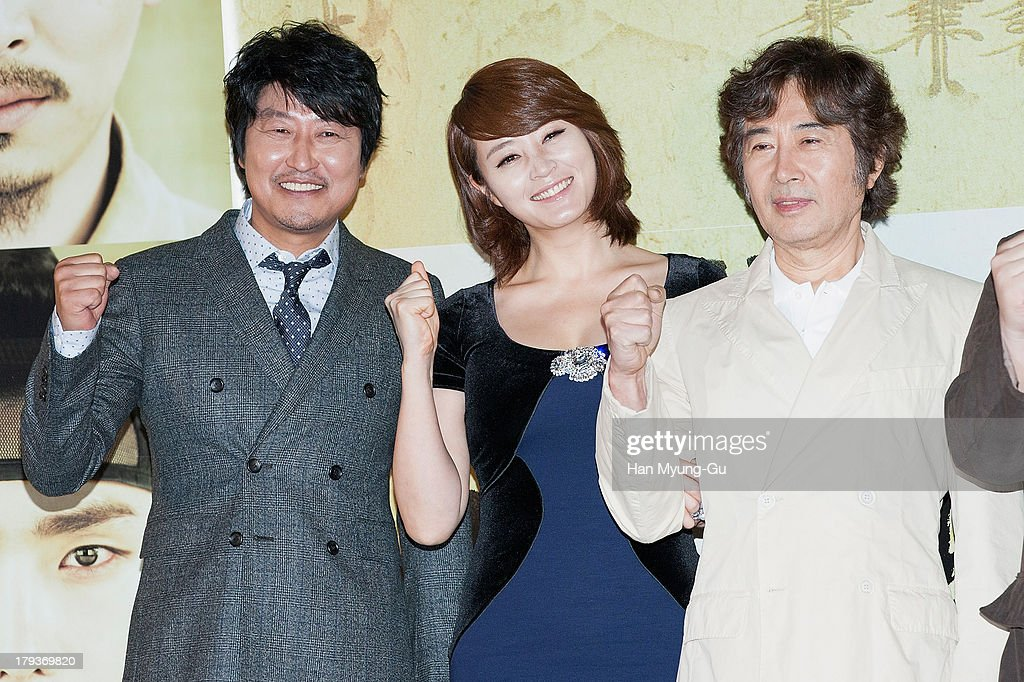 South Korean actors Song Kang-Ho, Kim Hae-Soo (<a gi-track='captionPersonalityLinkClicked' href=/galleries/search?phrase=Kim+Hye-Soo&family=editorial&specificpeople=4335641 ng-click='$event.stopPropagation()'>Kim Hye-Soo</a>) and Baek Yoon-Sik attend 'The Face Reader' press screening at the MEGA Box on September 2, 2013 in Seoul, South Korea. The film will open on September 11, in South Korea.