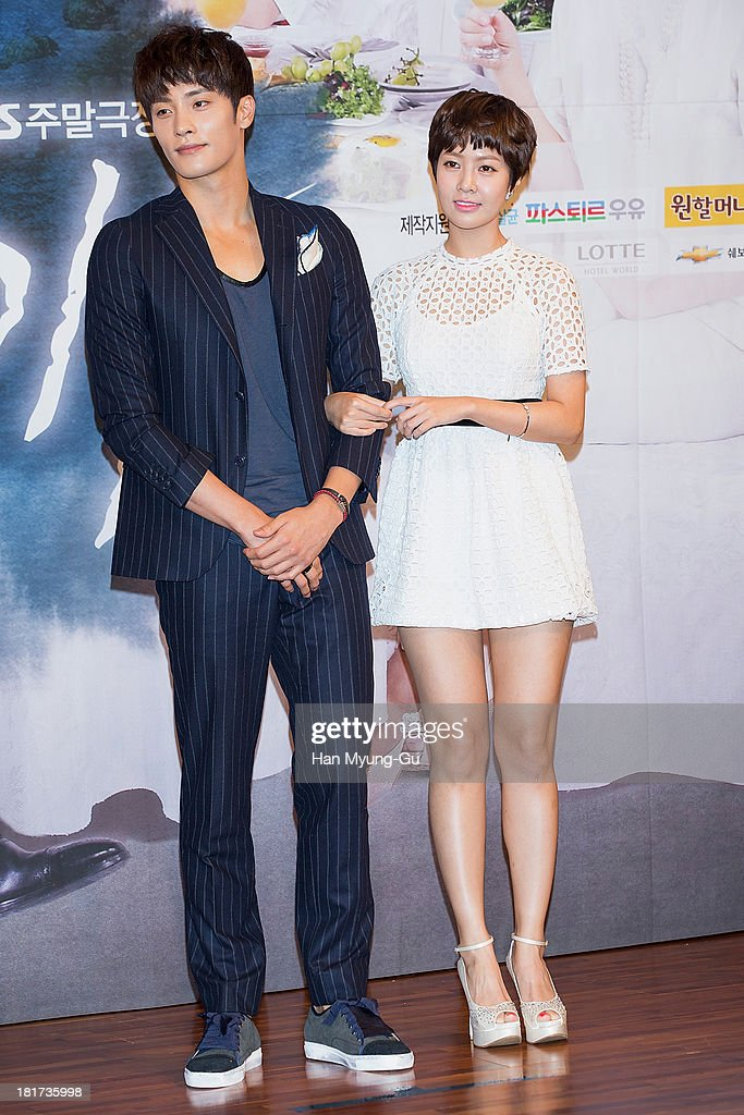 South Korean actors Sung Hoon and Choi Yun-Young attend SBS Drama 'Hot Love' press conference at 63 building on September 23, 2013 in Seoul, South Korea. The drama will open on September 28, in South Korea.