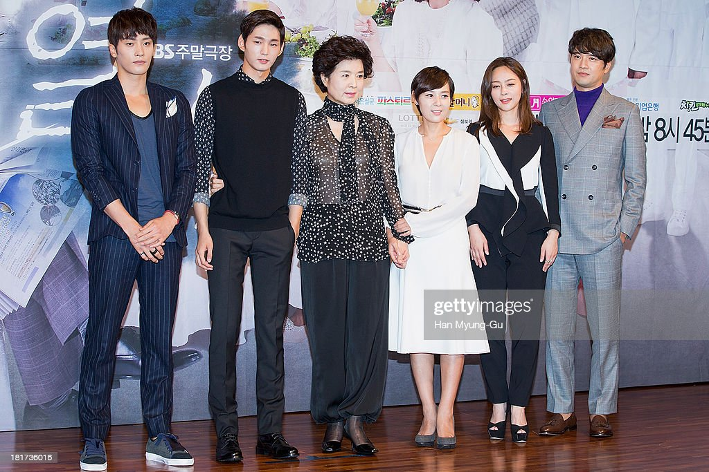 South Korean actors Sung Hoon, Lee Won-Keun, Yoon Mi-Ra, Jeon Mi-Sun, Woo Hee-Jin and Oh Dae-Gyu attend SBS Drama 'Hot Love' press conference at 63 building on September 23, 2013 in Seoul, South Korea. The drama will open on September 28, in South Korea.