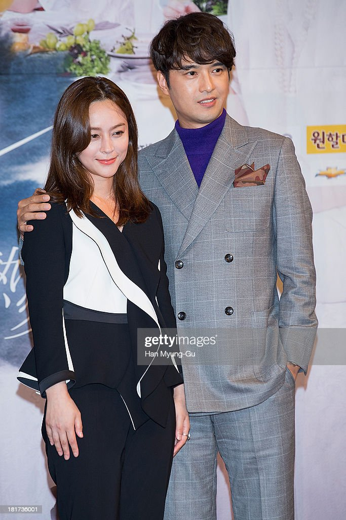 South Korean actors Woo Hee-Jin and Oh Dae-Gyu attend SBS Drama 'Hot Love' press conference at 63 building on September 23, 2013 in Seoul, South Korea. The drama will open on September 28, in South Korea.
