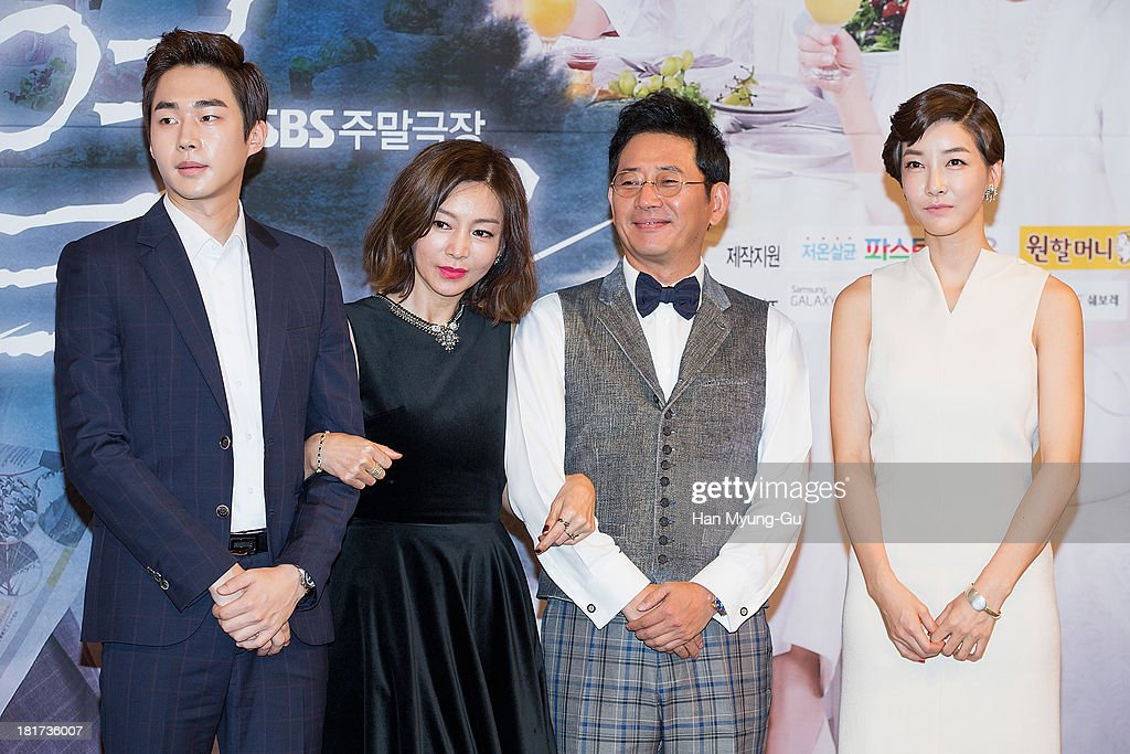 South Korean actors Yeo Eul-Zu, Hwang Shin-Hae (Hwang Shin-Hye), Jeon Gwang-Ryeol and Jin Seo-Yeon attend SBS Drama 'Hot Love' press conference at 63 building on September 23, 2013 in Seoul, South Korea. The drama will open on September 28, in South Korea.
