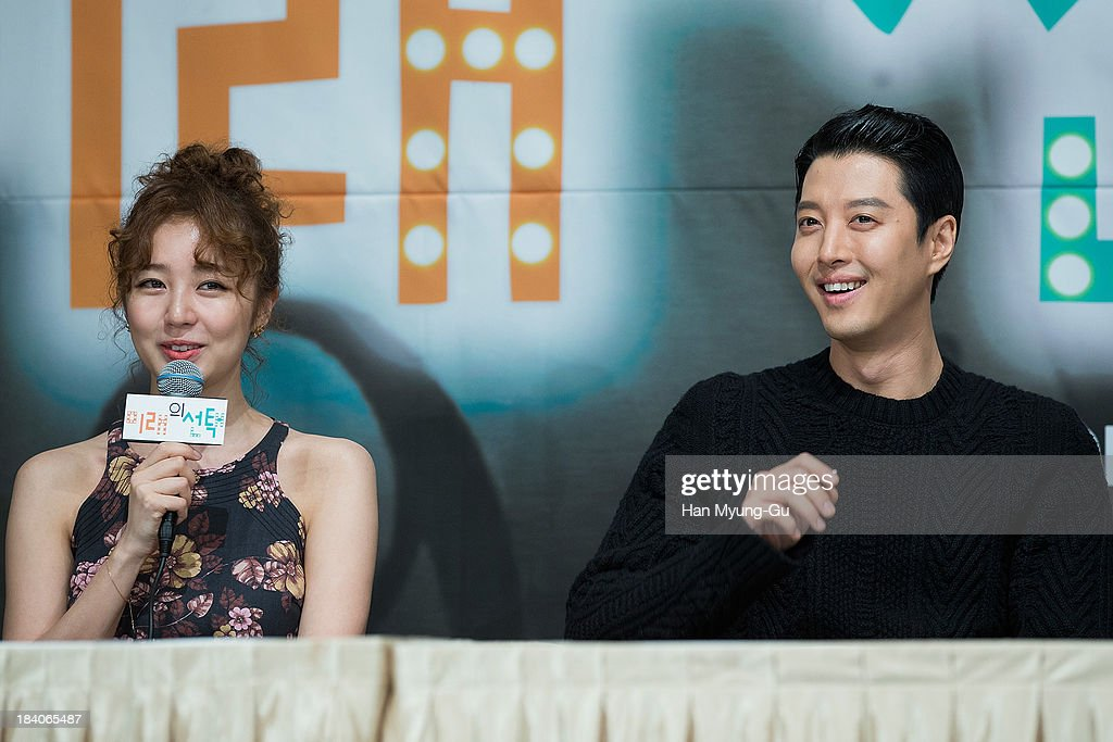 South Korean actors <a gi-track='captionPersonalityLinkClicked' href=/galleries/search?phrase=Yoon+Eun-Hye&family=editorial&specificpeople=4342448 ng-click='$event.stopPropagation()'>Yoon Eun-Hye</a> and Lee Dong-Gun attend KBS Drama 'The Choice Of The Future' Press Conference on October 10, 2013 in Seoul, South Korea. The drama will open on October 14, in South Korea.