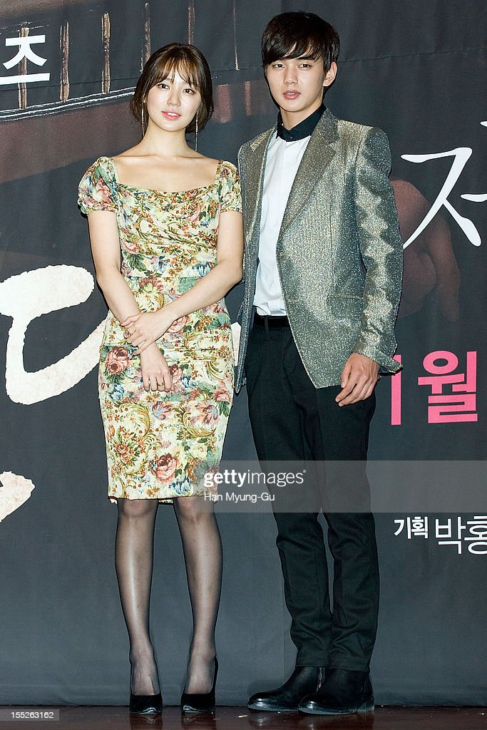 South Korean actors Yoon EunHye and Yoo SeungHo attend during a press conference to promote the MBC drama 'Miss You' on November 01 2012 in Seoul...