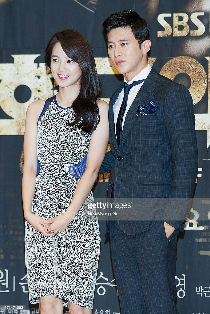 South Korean actors Yoon Seung-A and Ko Soo attend during the SBS Drama 'Empire of Gold' press conference on June 25, 2013 in Seoul, South Korea. The drama will open on July 01 in South Korea.